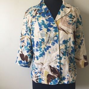 Coldwater Creek Floral and Cream Button Up Blazer